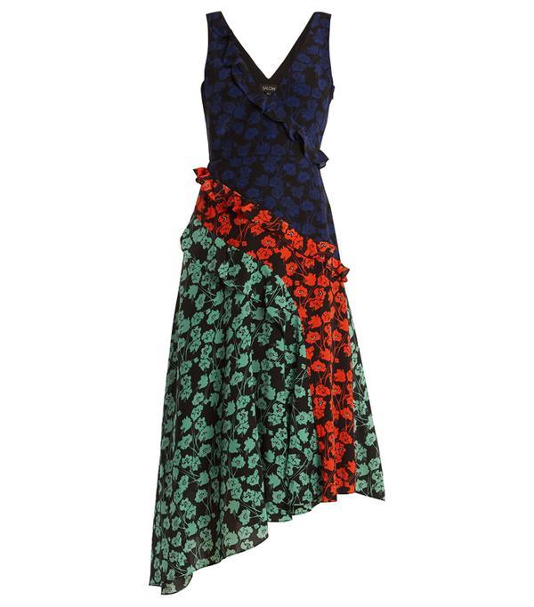 best New Year's Eve dresses: Saloni Aggie V-Neck Asymmetric Silk Crepe de Chine Dress