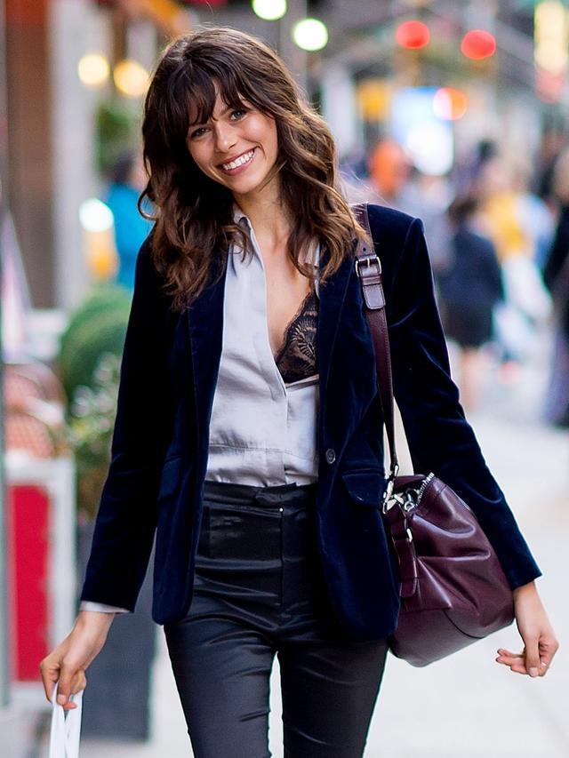 Georgia Fowler black leather pants