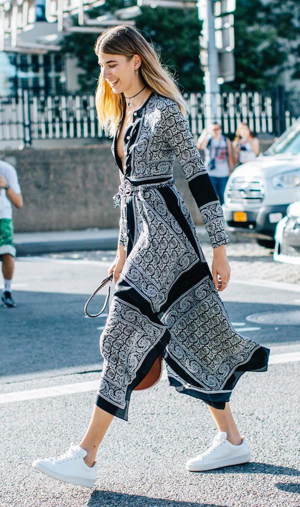 No one wears dresses and sneakers like Veronika Heilbrunner.