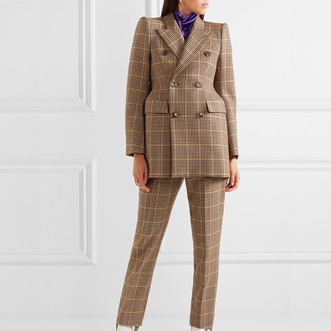 Hourglass Double-Breasted Checked Wool Blazer