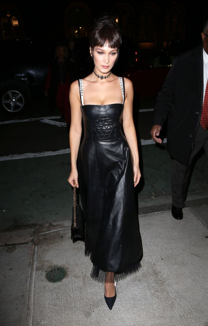 Bella Hadid in a Dior leather dress and bra