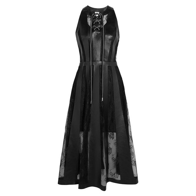 Christopher Kane Faux Leather and Lace Dress