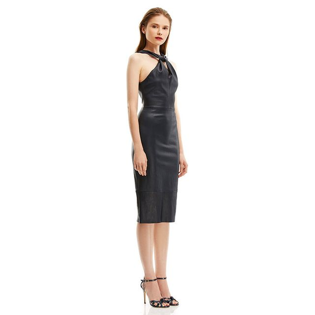Scanlan Theodore Straight Leather Turban Twist Dress