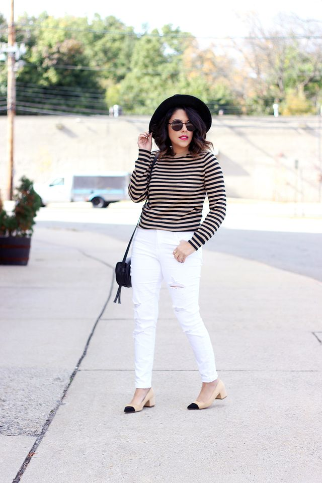 "Pictured: Who What Wear Metallic Stripe Crew ($27) Michele explains that it's important to be open to trying out different styles and silhouettes. ""I never used to be a fan..."