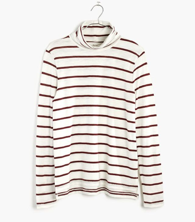 Madewell Whisper Cotton Turtleneck in Wellton Stripe