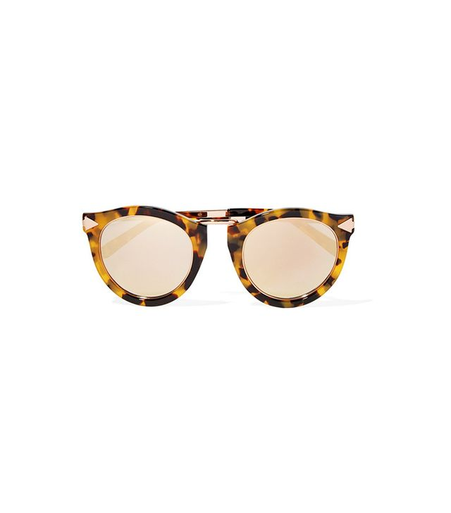 Karen Walker Harvest Superstars Round-Frame Acetate and Rose Gold-Tone Mirrored Sunglasses