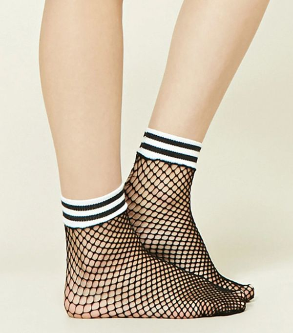 Forever 21 Striped Fishnet Ankle Socks