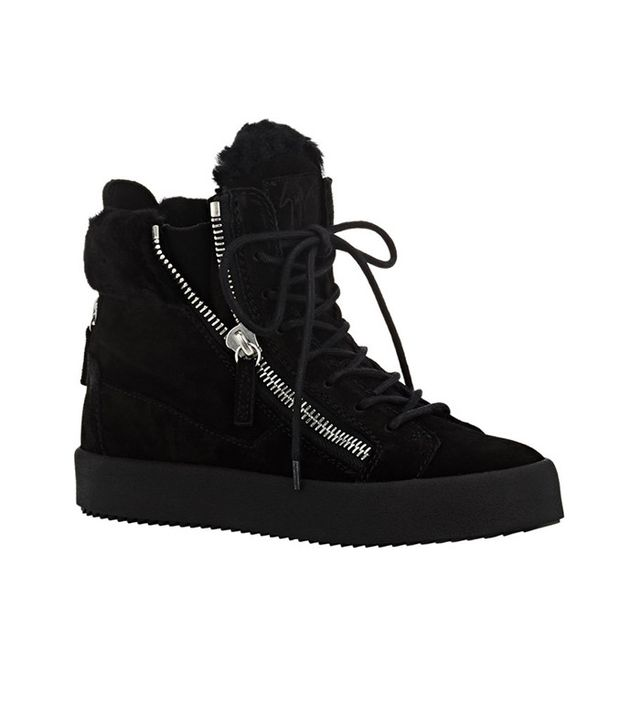 Giuseppe Zanotti Shearling-Lined Double-Zip Sneakers
