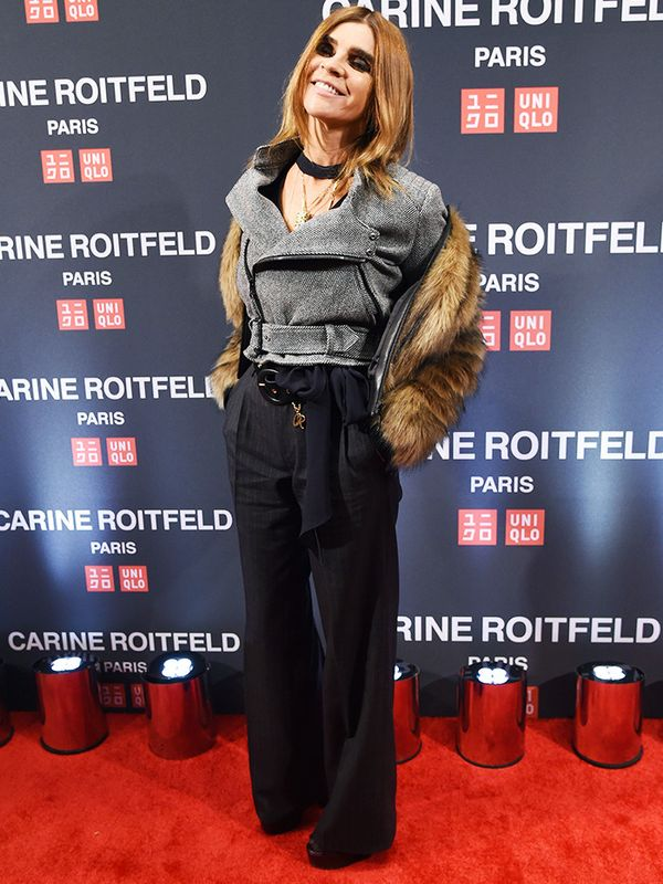 WHO: Carine Roitfeld WHAT: Carine Roitfeld x Uniqlo Collaboration Launch Party, New York WEAR: Uniqlo. Want more? Secret ways to make your winter clothes look more expensive.