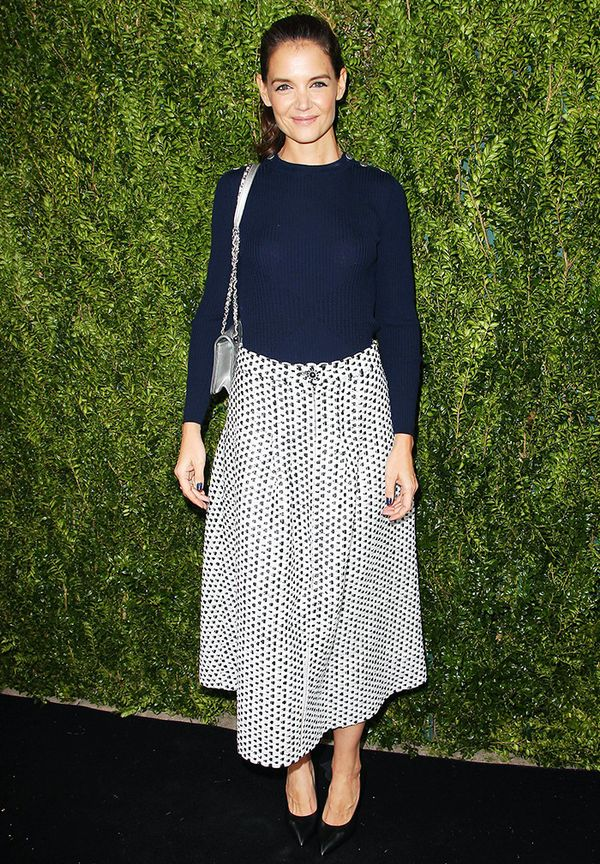 WHO: Katie Holmes WHAT: Through Her Lens: The Tribeca Chanel Women's Filmmaker Program Luncheon, New York WEAR: Chanel skirt.
