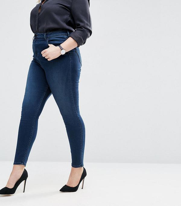 ASOS Curve Waist Ridley Skinny Jeans In London Blue Minx Wash