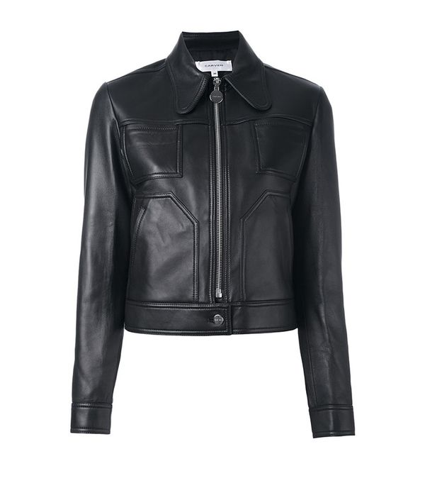 Carven Cropped Leather Jacket