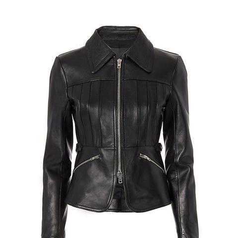 Combo Collar Peplum Leather Jacket