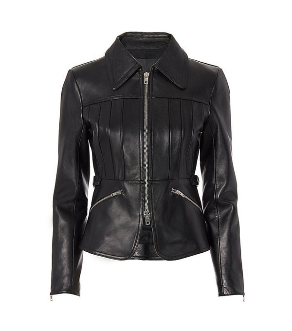 Alexander Wang Combo Collar Peplum Leather Jacket