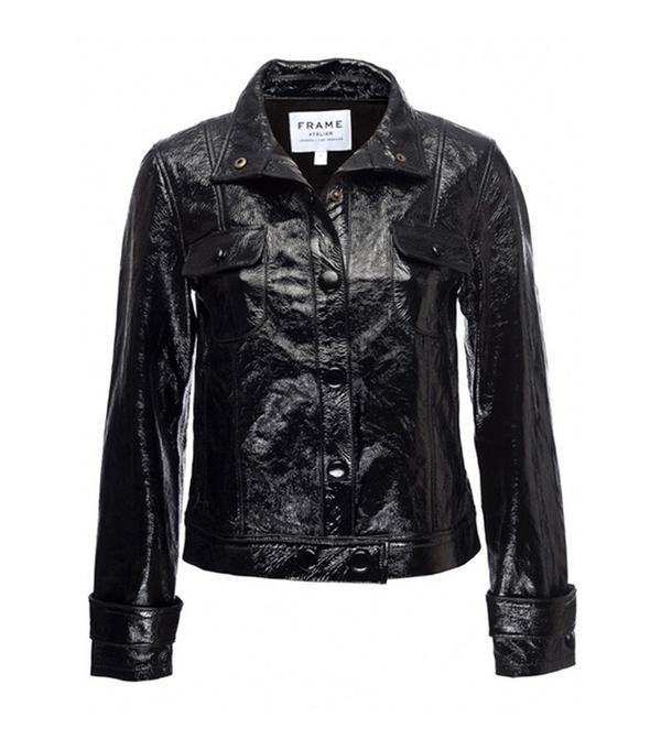 Frame Denim Leather Crop Jacket