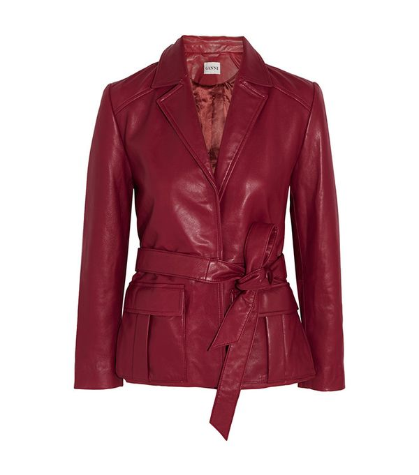 Ganni Passion Belted Leather Jacket