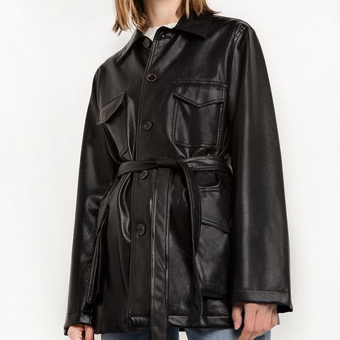 Leather Cargo Belted Jacket