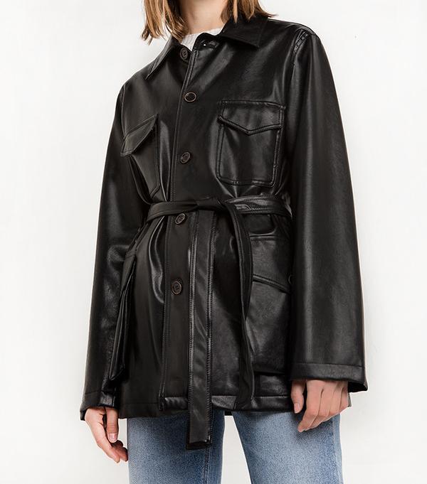 Pixie Market Leather Cargo Belted Jacket