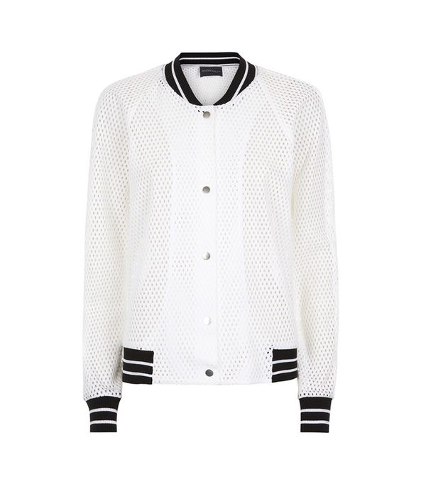 Antipodium White Mesh Bomber Jacket