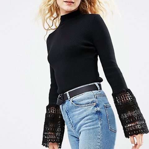 Sweater with Lace Bell Sleeves