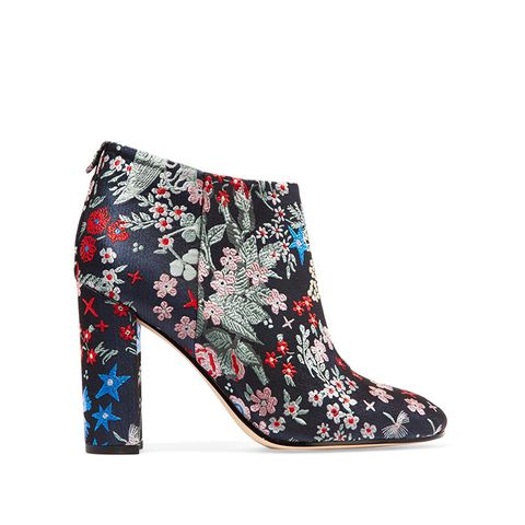 Cambell Floral-Brocade Ankle Boots