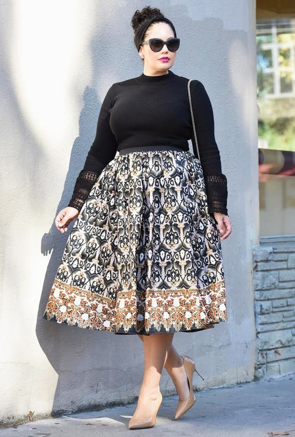 On Tanesha Awasthi: ASOS Sweater with Lace Bell Sleeves ($43); Demestik The Shavon Midi Skirt ($150); Sam Edelman shoes.