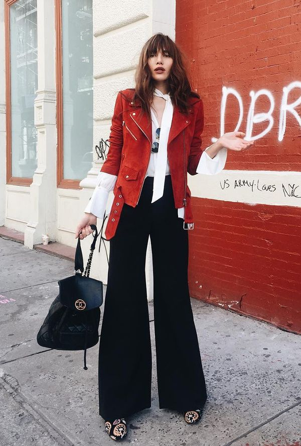 On Natalie Suarez: Veda Jayne Suede Jacket Crimson ($990); Mishanonoo pants; Chanel bag; AGL boots.