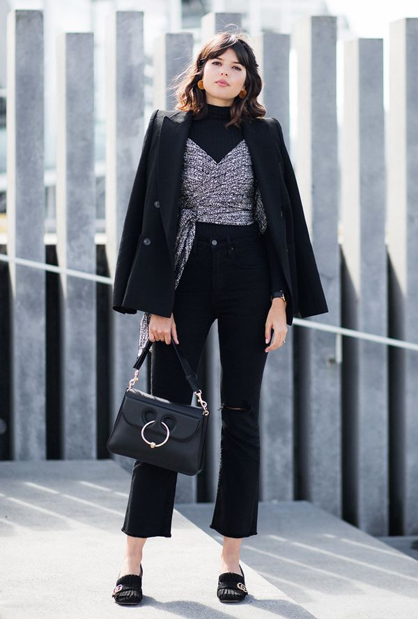 On Talisa Sutton: Holly Ryan Gold Wave Earrings ($250); Isabel Marant blazer; Topshop turtleneck; Eugenie top; Nobody Denim Cult Ankle Flare ($229); J.W.Anderson bag; Gucci Suede Mid-Heel...