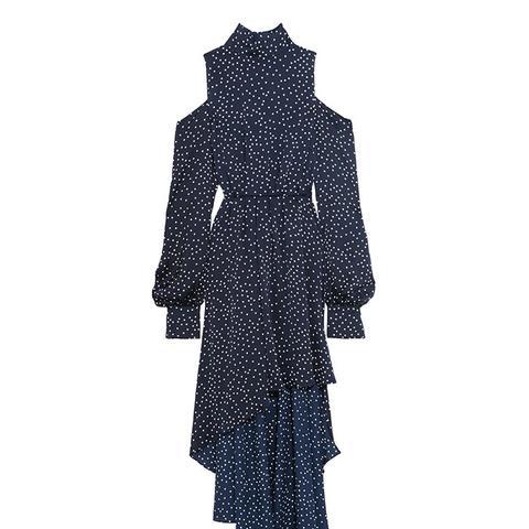 Rennes Open-Back Polka-Dot Silk-Satin Dress