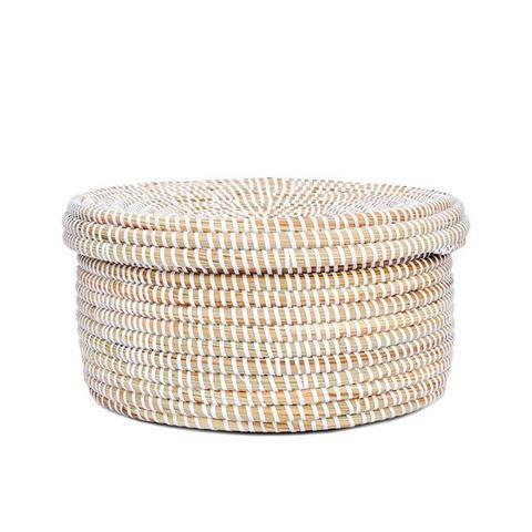Sweetgrass Flat Lidded Basket
