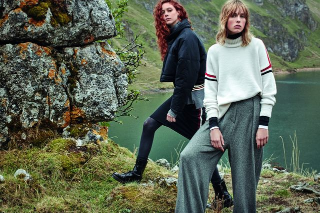 On Natalie Westling: Mango Cotton quilted jacket ($120), Ribbed Sweater ($60), Side Trim Skirt ($46), Lace-Up Patent Effect Boots ($1009). On Edie Campbell: Mango Contrast Trim Sweater ($40) and...