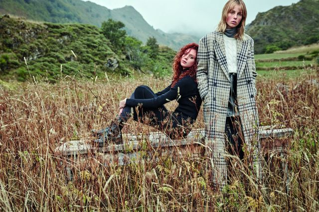 On Natalie Westling: Mango Zip Knitted Dress ($80), and Lace-Up Patent Effect Boots ($100). On Edie Campbell: Mango Cable-Knit 100% Cashmere Sweater ($200), Ribbed Sweater ($60), Check Wool-Blend...
