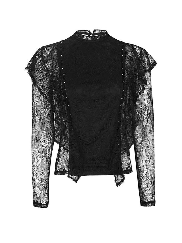 Topshop Lace Ruffle Stud Top