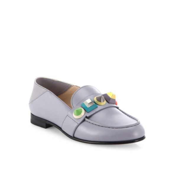 Fendi Rainbow Studded Leather Loafers