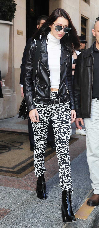 Bella Hadid Belted Leather Moto Jacket 2016