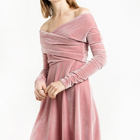 Valerie Dusty Pink Velvet Off The Shoulder Dress