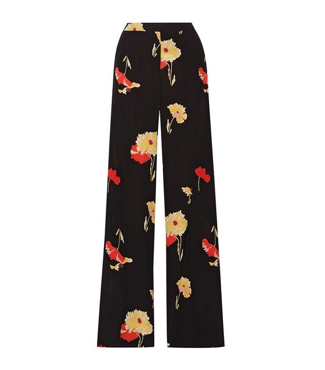 Etro Printed Silk-Crepe Wide-Leg Pants