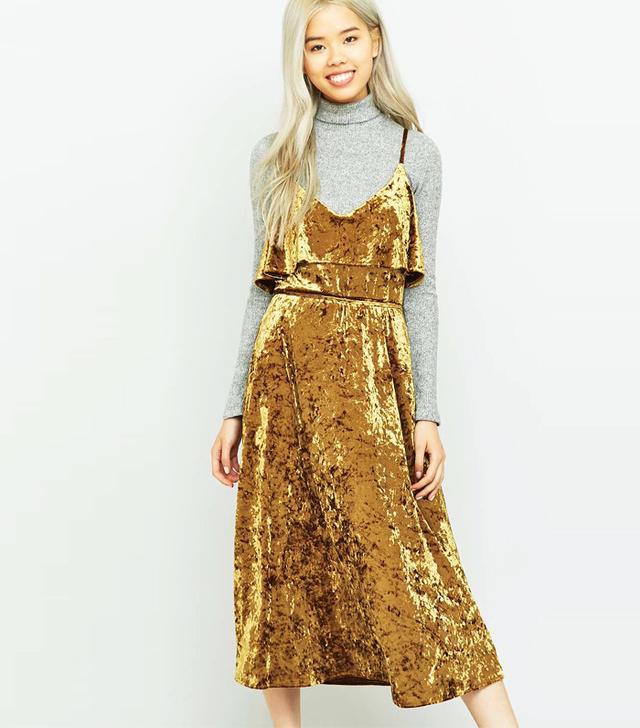 Urban Outfitters Pins & Needles Ruffle Gold Velvet Midi Dress