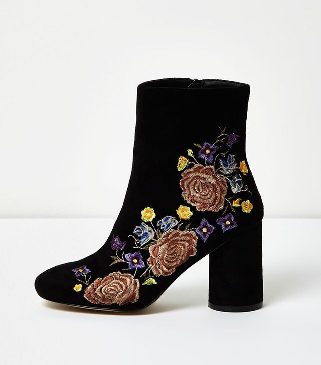 River Island Black Floral Embroidered Ankle Boots