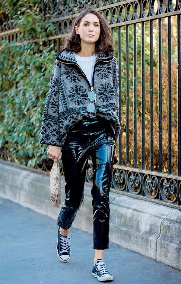 8. Vinyl pants add an ultra-cool factor tosneakers.