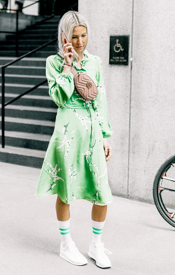 4. Balance out a girly wrap dress.
