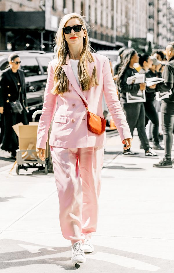 7. Give a colorful suit a street style edge.