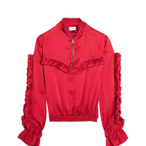 Granada Ruffled Silk-Satin Blouse