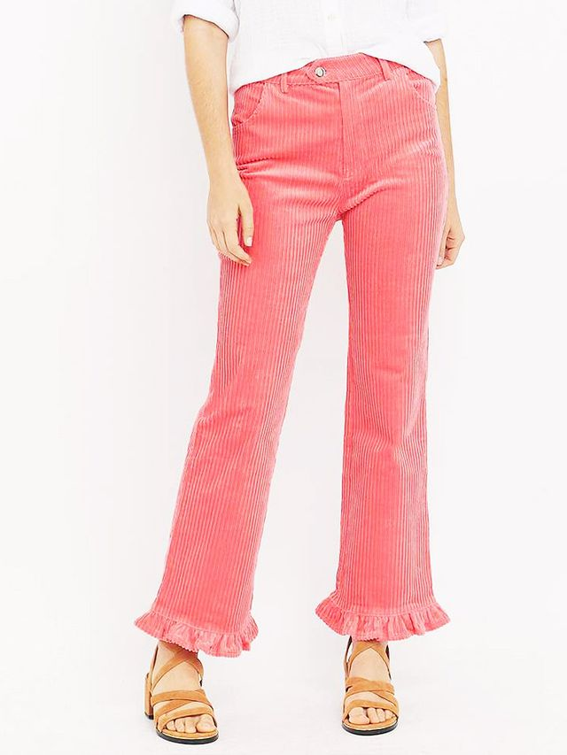 Manoush Pink Corduroy Ruffle Flared Trousers