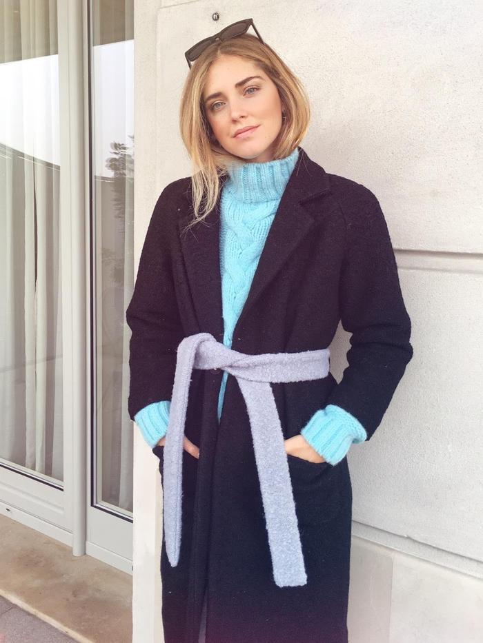 Chiara Ferragni wearing her collaboration with Ganni.