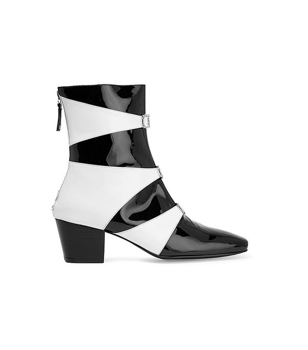 Dorateymur Two-Tone Patent-Leather Ankle Boots