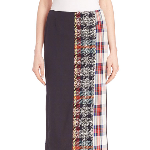 Mixed Plaid Cotton Midi Skirt