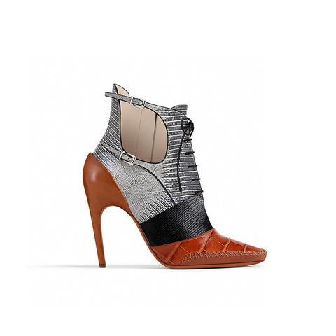Cognac Calfskin Ankle Boot