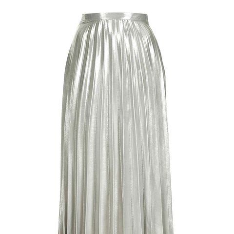 Metallic Pleat Ankle Grazer Skirt