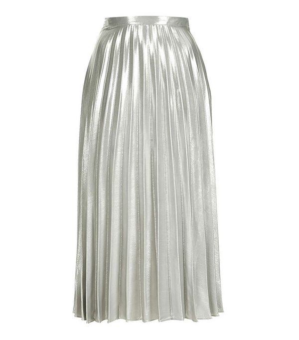 Topshop Metallic Pleat Ankle Grazer Skirt